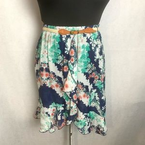🆕 By&By Ruffle Hem Floral High Low Skirt. M